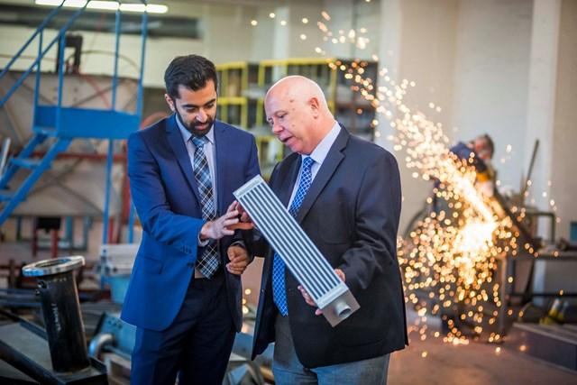 Visit to G&M Radiators, Glasgow. Humza Yousaf, Minister for Transport & the Islands, John Blake, G&M Radiator Manufacturing Managing Director
