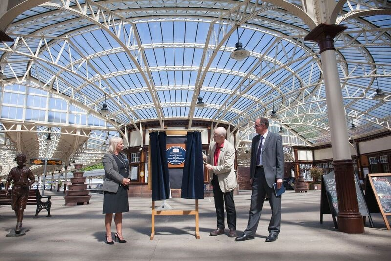 Wemyss Bay marks heritage award win: Wemyss Bay plaque with Jacqueline Rae, of ScotRail, Andy Savage, of the National Railway Heritage Awards, and Donald Stevenson, of Network Rail.