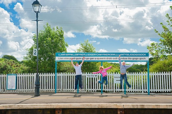 Children at Llanfairpwll train station