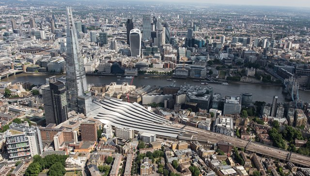 aerial - London Bridge (1): London Bridge station basks in the sun next to the Shard. This is not a CGI but it looks very much like one!
