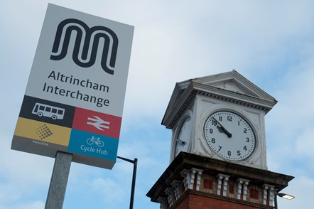 Altrincham Interchange sign and clock tower
