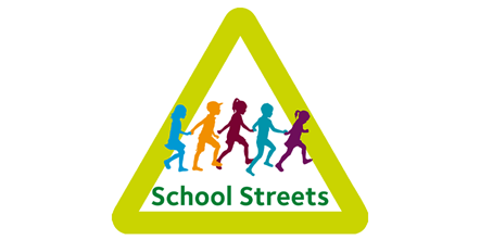 A further 26 School Streets are to be implemented by the end of 2020 - graphic showing children in a green triangle with the words School Streets