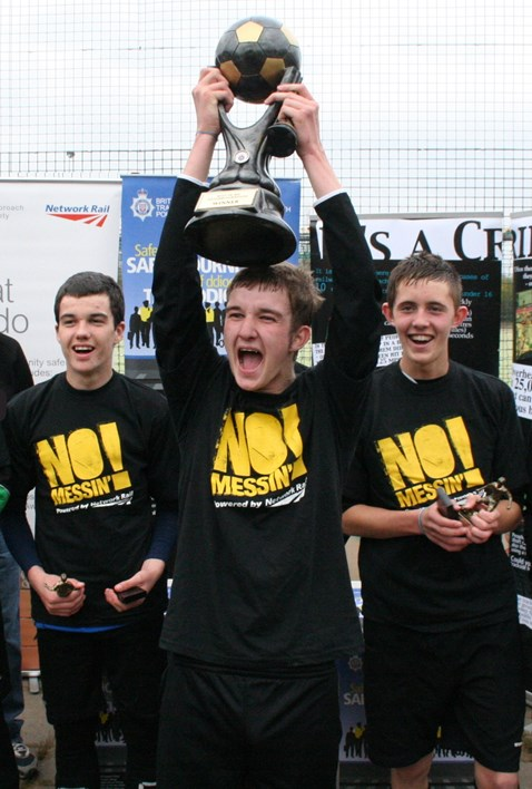 Young people take part in football tournament to help battle rail crime in south Wales