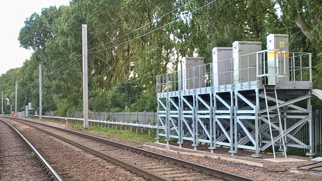 Signalling cabinets on stilts at Caldew junction 2