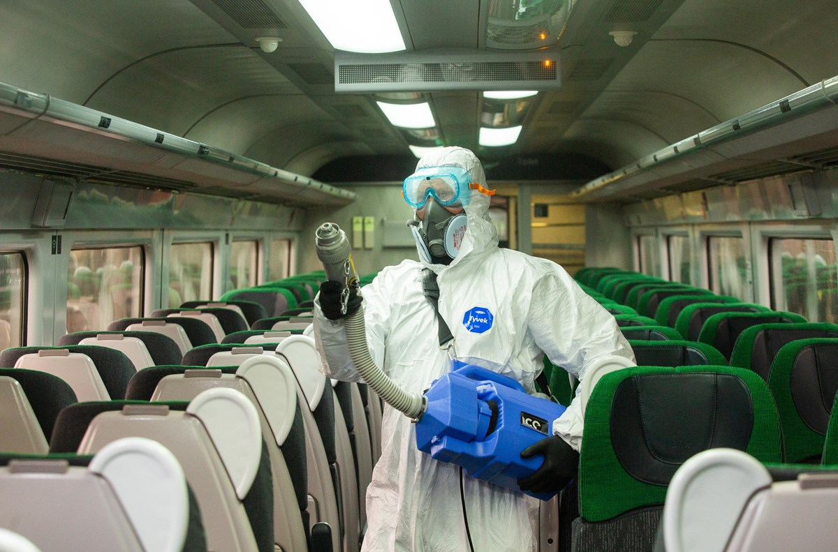 Train being cleaned with a virucidal mist on board a GWR train: Credit: Great Western Railway