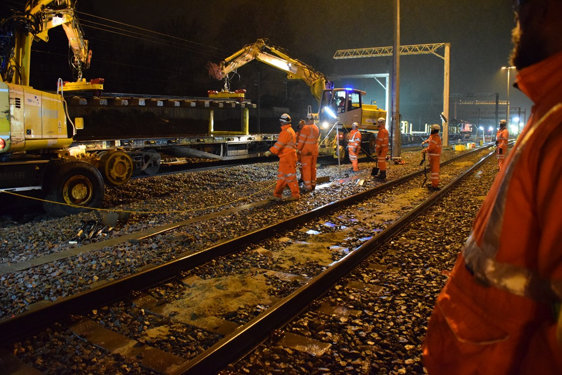 Old track being removed in Acton Wells at Christmas 2015: Christmas 2015, engineering, IP Track. high speed handback