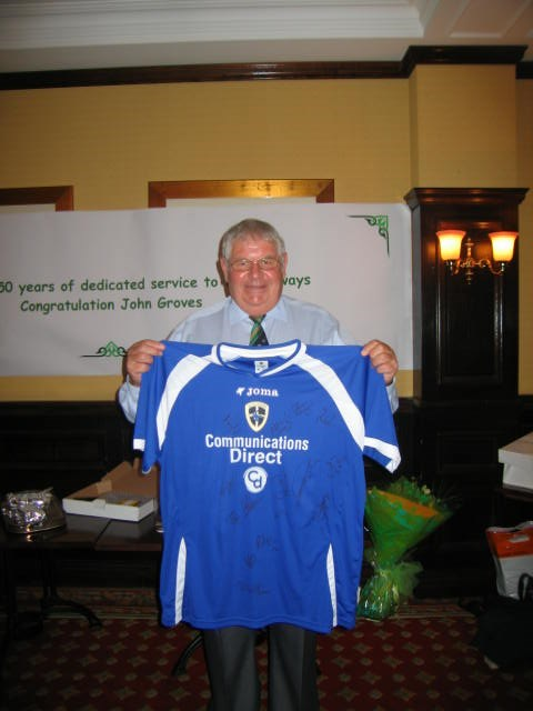 John Groves 50 years service: John Groves with signed Cardiff City football shirt