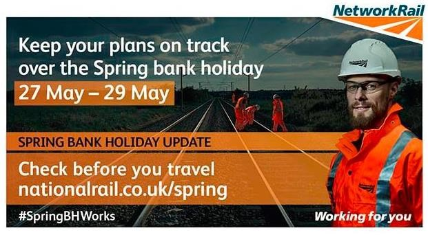 Surrey and Hampshire train passengers urged to check before they travel over spring bank holiday: CBYTLateMay