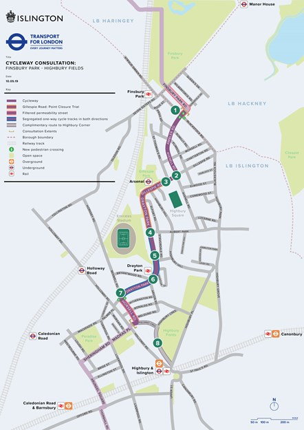 Overview plan of proposed Finsbury Park - Highbury Fields Cycleway