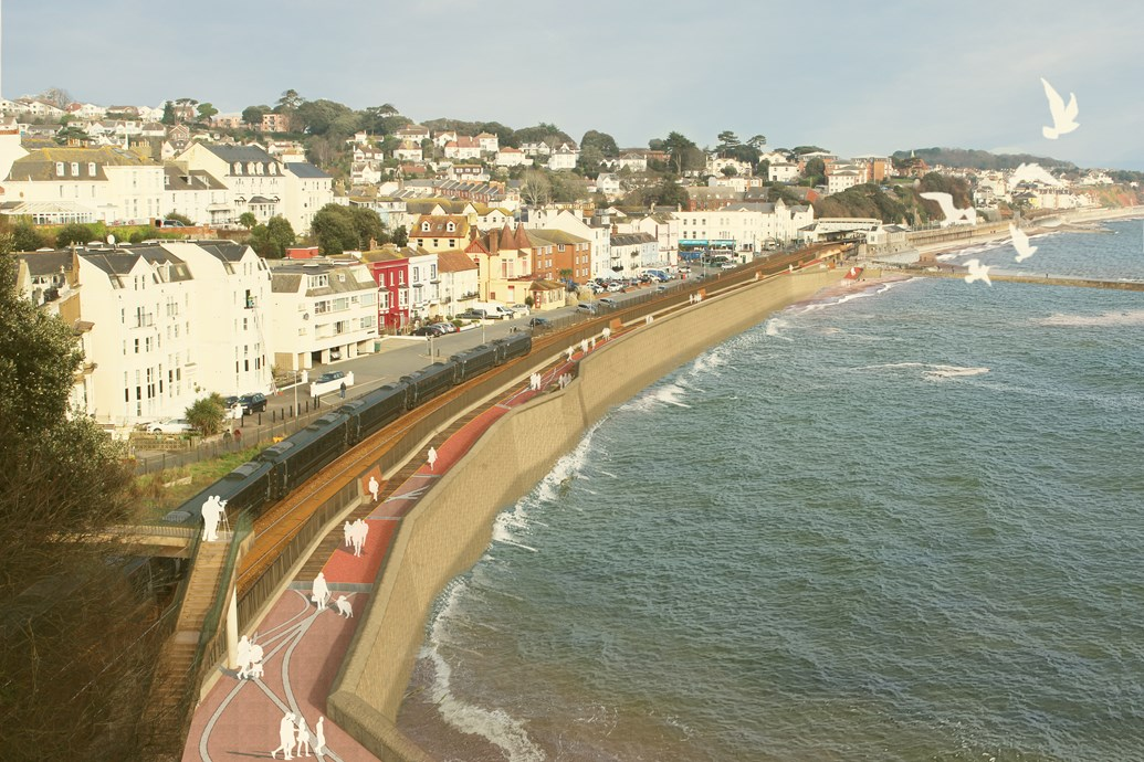 Plans for a new sea wall to protect the railway at Dawlish approved by Teignbridge District Council: Dawlish sea wall render image 1