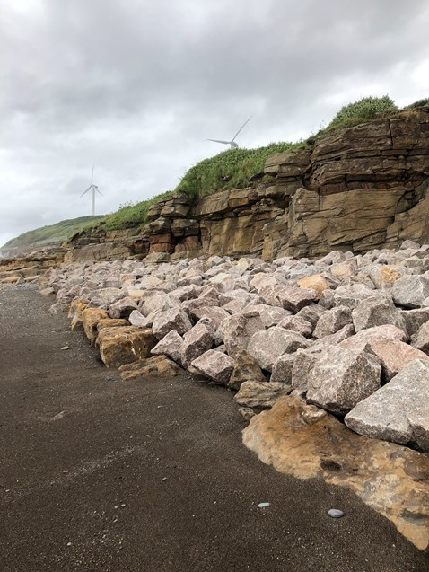 Sea defence work in Parton - 20,000 tonnes of rock armour placed