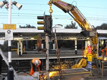 Removal of old signals: Obsolete signals are removed, ready to be replaced by state-of-the-art LED signals, as part of the £104m Colchester to Clacton upgrade.