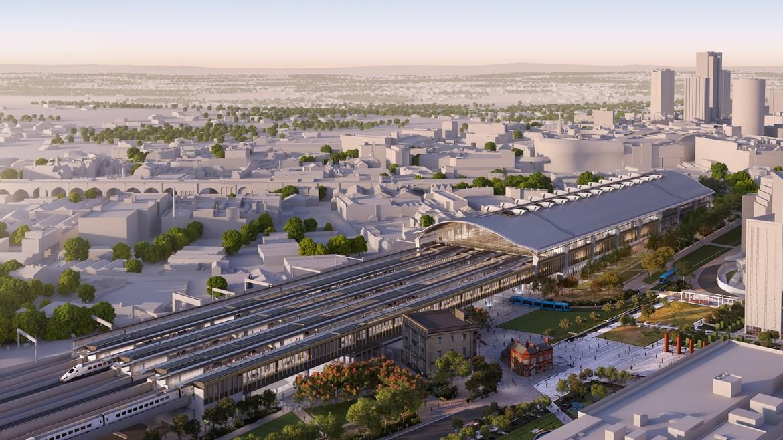 HS2 reveals construction shortlist for Birmingham Curzon Street station: Birmingham Curzon Street Aerial April 2020