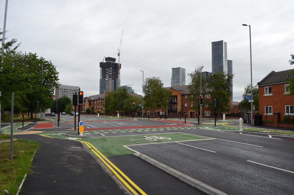 Manchester opens UK's first CYCLOPS junction: Royce Road CYCLOPS junction after