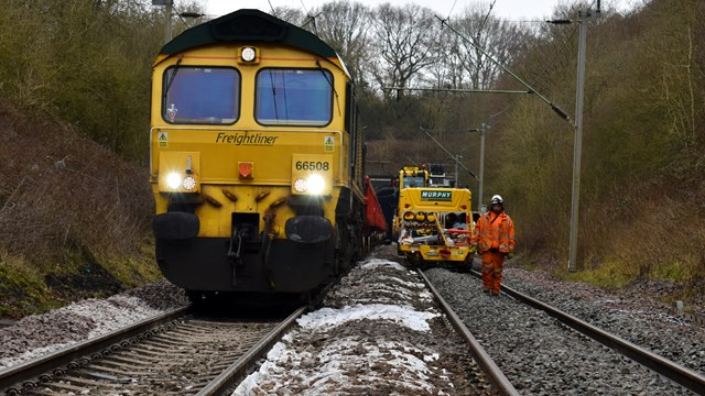 Engineering train at mouth of Crick tunnel drainage upgrade March 2021