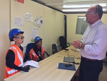 The youngsters enjoy a presentation on what work is being carried out at the level crossing