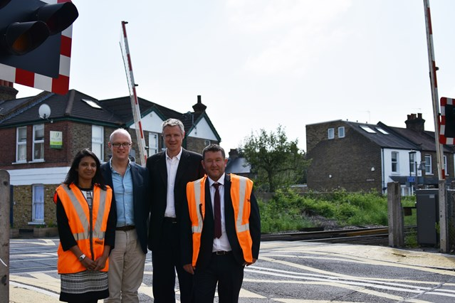 New safety enforcement cameras to stop dangerous misuse at level crossing in Richmond: Image 2, l-r Priti Patel, Network Rail Head of Route Health and Safety - Cllr Stephen Speak - Zac Goldsmith MP - Mark O'Flynn, Level Crossing Manager, Network Rail