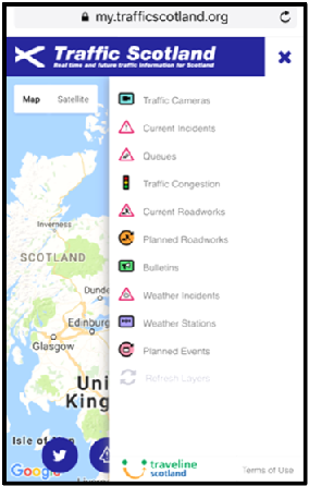 Traffic Scotland mobile device