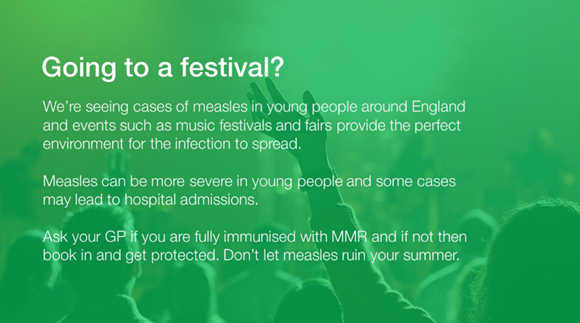 Help Public Health England stop the spread of measles at your festival this summer with our handy toolkit: measles festival
