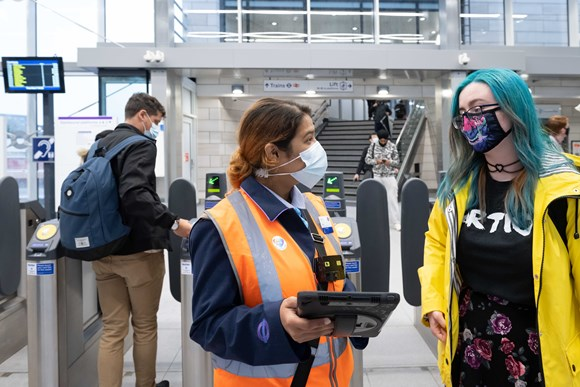 TfL Image - Hayes & Harlington station staff at ticket line