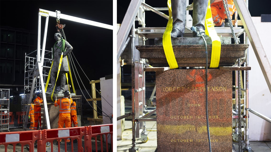 Safe storage for Stephenson statue during Euston's HS2 transformation: Robert Stephenson statue removal composite