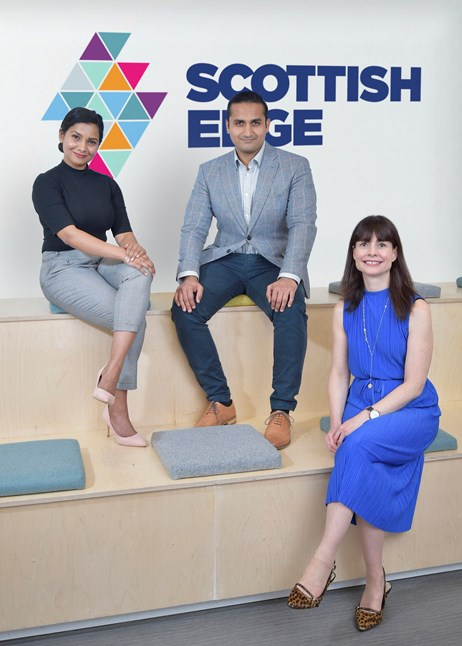 Scottish Edge Scales Up With Offer of £1m Injection from Scottish Enterprise: Left to right are Vandana Pillai and Dhruv Trivedi of Bounce Back Drinks and Evelyn McDonald of Scottish EDGE (by Sandy Young)