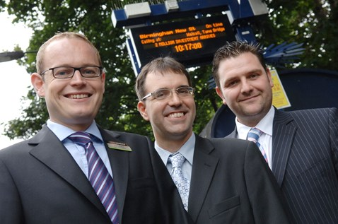 Left to right: London Midland commercial director Alex Hynes, Cllr Tim Huxtable – Centro's lead member for rail, and Darren Horley, senior route planner, Network Rail, announce the £2m investment on the Chase Line.