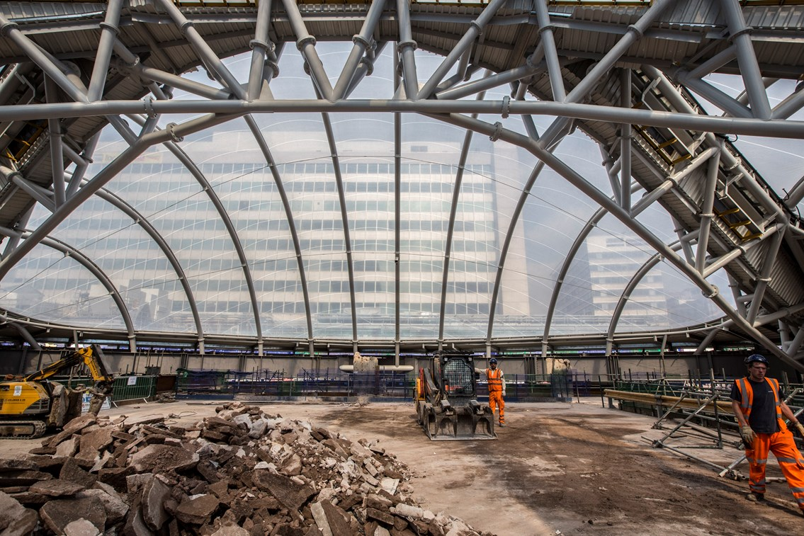Looking throught the ETFE atrium at Birmingham New Street Station: A view from inside the atrium at Birmingham New Street Station