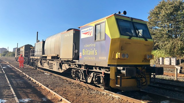 Turning over a new leaf: rail industry invests in new kit to keep passengers moving this autumn: Autumn treatment train at a depot