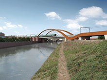 Ordsall Chord: CGI of two possible designs for the Ordsall Chord bridge over the River Irwell, on the Salford/Manchester border.