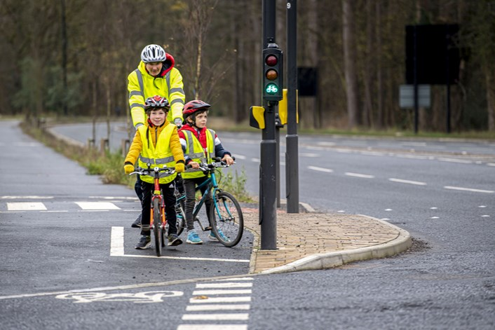 Cycling video shows local people using new cycling infrastructure along East Leeds Orbital Route: East Leeds Orbital Route cycling family