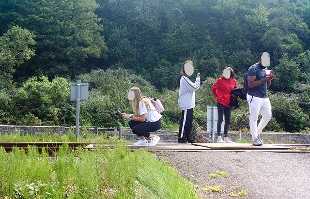 Public urged to stop taking risks after worrying surge in trespass and level crossing misuse: A group take photos on the track at Harlech