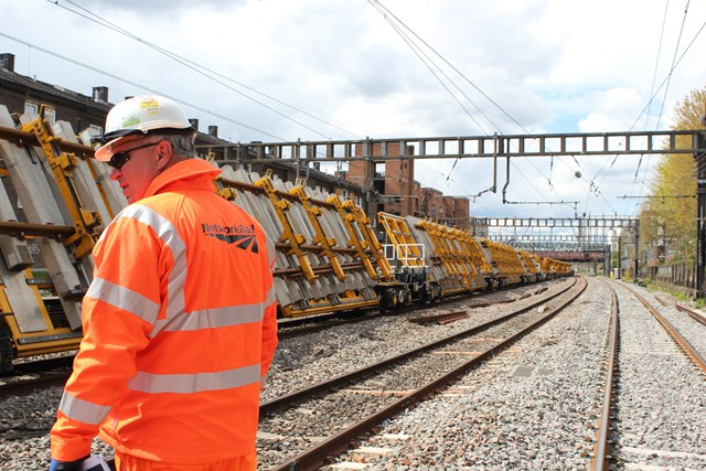 Essential engineering work for West Coast Mainline: New track sections being delivered to a worksite