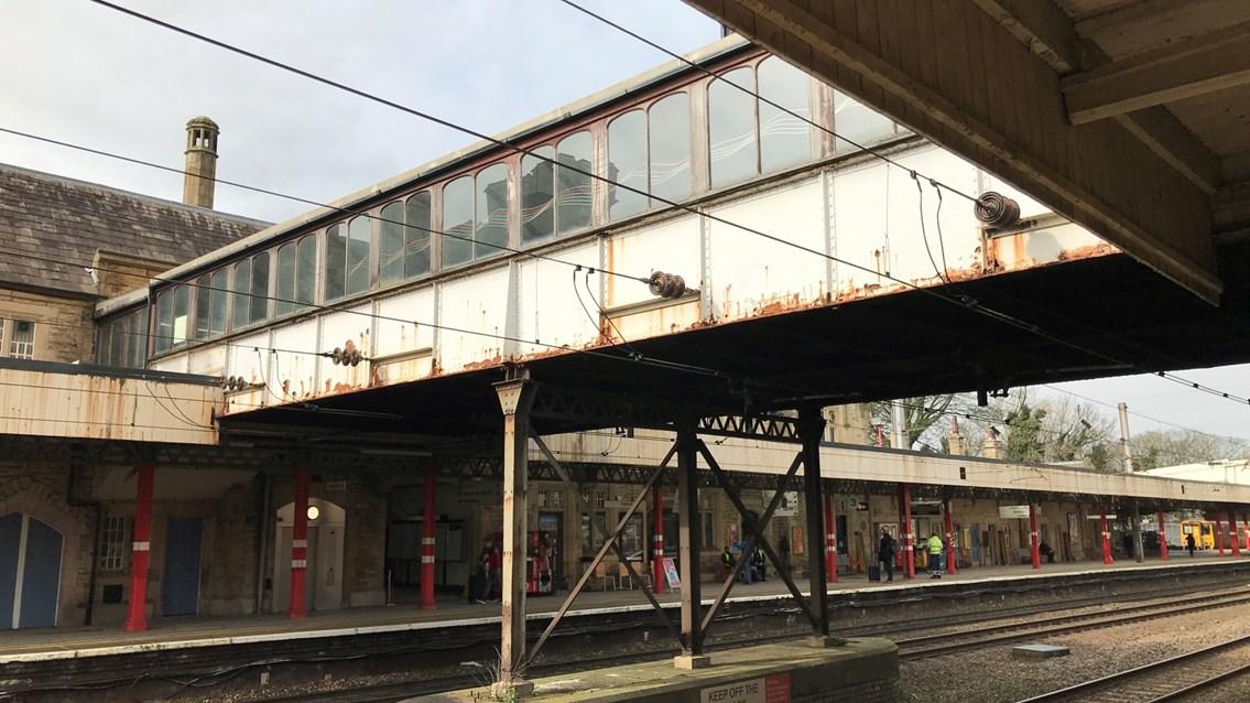 Grade II listed Lancaster station footbridge to undergo major overhaul: Lancaster station footbridge external