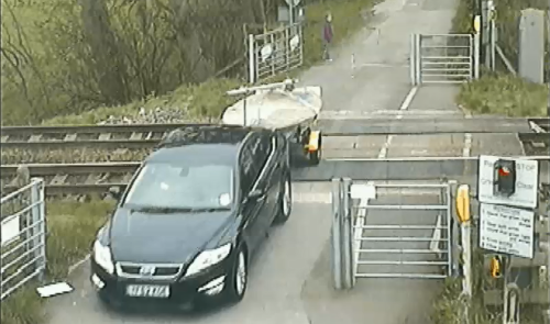 Near-miss with a car at Ducketts level crossing in 2013