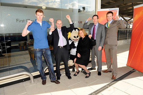 From left to right: Stephen Pearson, Derby County FC player; Martin brown, operations risk advisor Network Rail; Rammie; Dyan Crowther, route director Network Rail; Tom Glick, CEO Derby County FC; and Richard Pedley, community safety manager Network Rail.