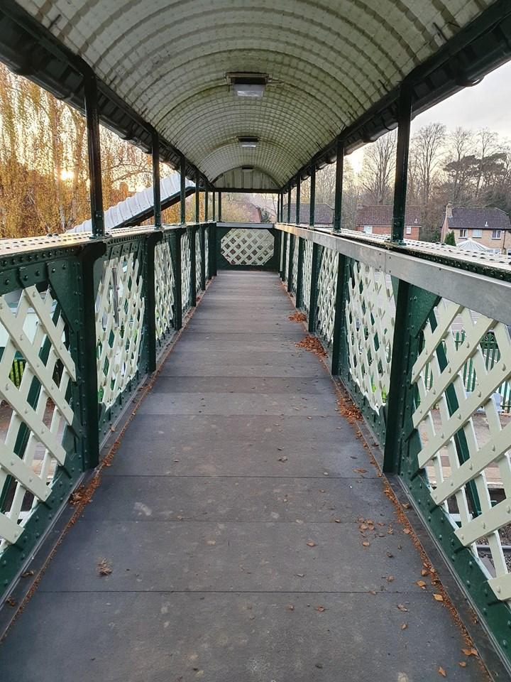 Footbridge deck at Lingfield station
