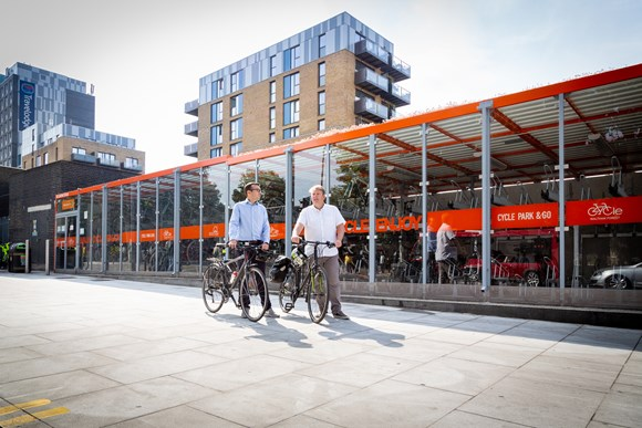 TfL Image - Will Norman and Cllr Clyde Loakes at a cycle parking hub in Walthamstow 02