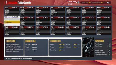 NBA 2K22 MyNBA Training Schedule