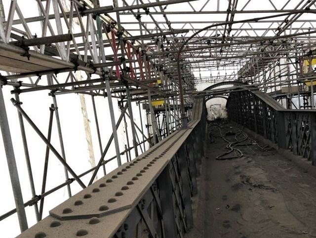 Inside footbridge at Welwyn Garden City station