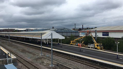 Bolton station overhead line installation