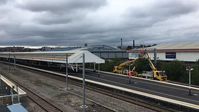 Bolton station overhead line installation