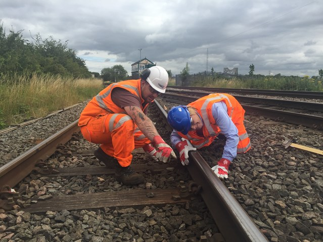 Lichfield MP goes trackside with Network Rail and London Midland: Michael Fabricant MP helps inspect the track near Lichfield Trent Valley