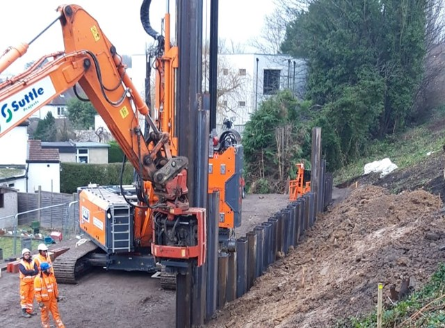 Railway line between Epsom and Ewell West to reopen on Monday, 6 January: Epsom steel piles landscape