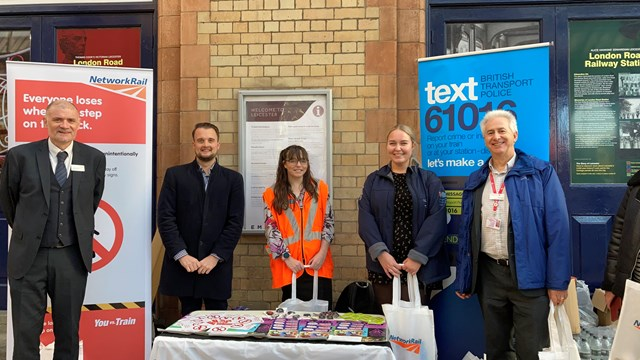 Network Rail joins passengers at Leicester station to tackle trespass and vandalism: Trespass and Vandalism community event, Leicester station