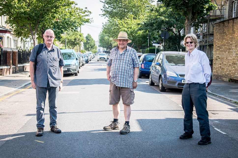 Cllrs Champion (pictured right) Heather (centre) and O'Sullivan (left) on Mayton Street, which will be greener, safer and more pleasant following the works