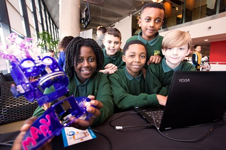 Islington showcases its tech kids for the seventh year at Computing Celebration: Angel Gyamema, TJ Wilson, Nyrell Bell, Nahom Getachew, Alfie Linley from Clerkenwell Primary School