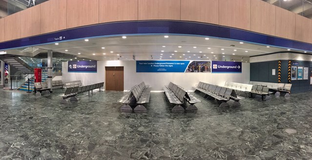 More than 100 seats for passengers as Underground entrance moved at Euston: New customer seating area at Euston station
