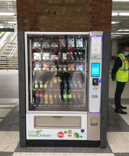 Face coverings available at a vending machine at London Liverpool Street station: Credit: Network Rail