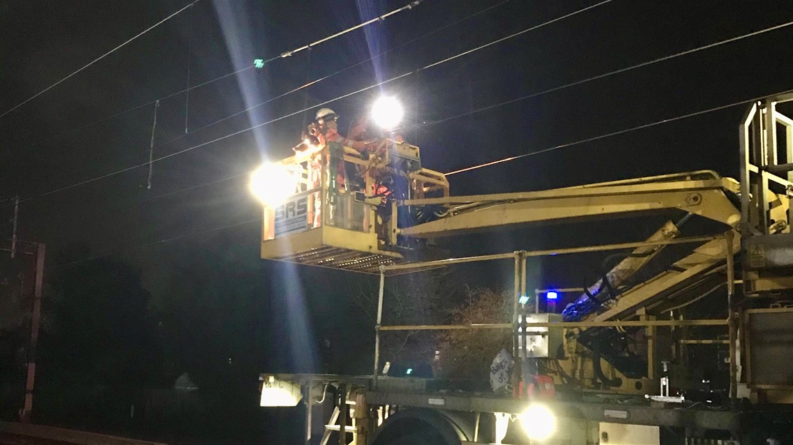 Covid-19: Railway maintenance continues to keep critical supply lines open​: Repairs to overhead lines at South Kenton
